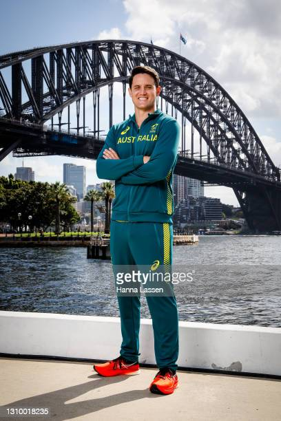 """Aiden """"AJ"""" Roach poses during the Australian Olympic Team Tokyo 2020 uniform unveiling at the Overseas Passenger Terminal on March 31, 2021 in..."""