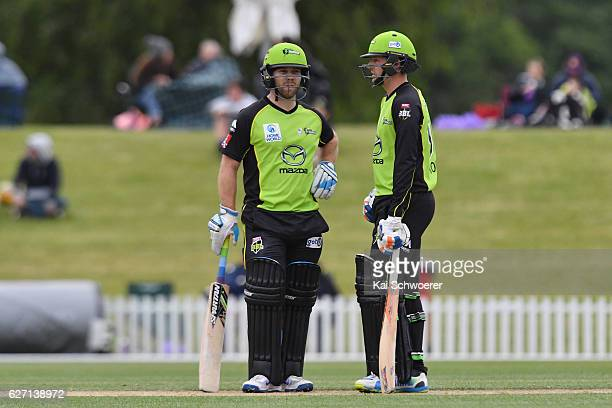 Aiden Blizzard and Ben Rohrer of the Thunder look on during the T20 practice match between Canterbury Kings and Sydney Thunder at Hagley Oval on...
