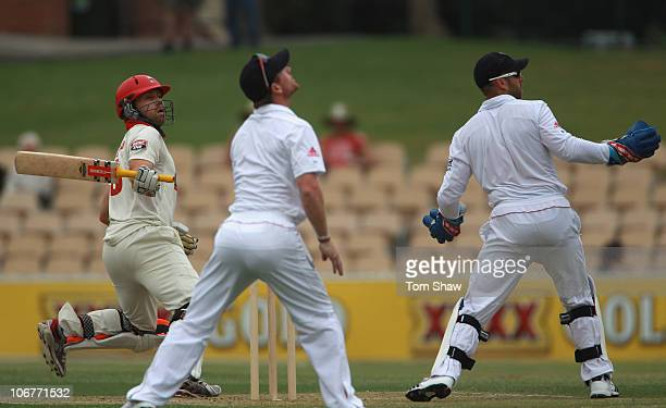 Aiden Blizzard of South Australia hits out during day two of the Tour Match between the South Australian Redbacks and England at Adelaide Oval on...