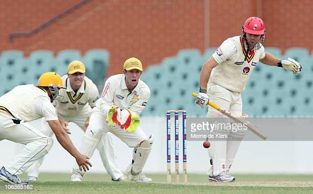 Aiden Blizzard of the Redbacks plays a dangerous shot during day two of the Sheffield Shield match between the South Australian Redbacks and the...
