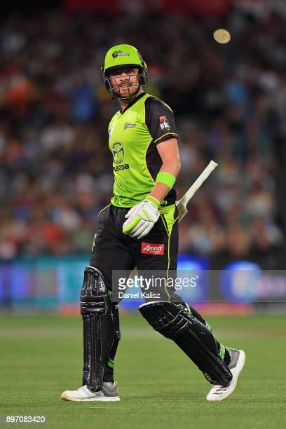 Aiden Blizzard of the Sydney Thunder reacts after being dismissed during the Big Bash League match between the Adelaide Strikers and the Sydney...