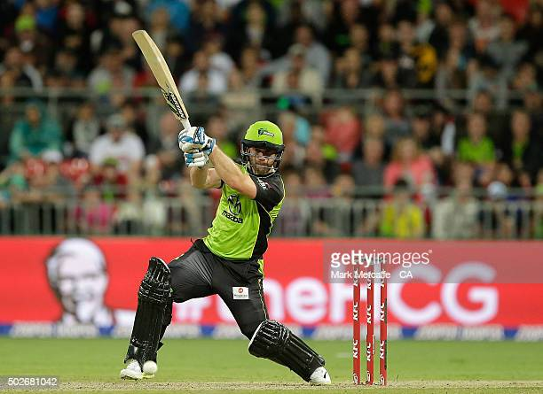 Aiden Blizzard of the Thunder bats during the Big Bash League match between the Sydney Thunder and Adelaide Strikers at Spotless Stadium on December...