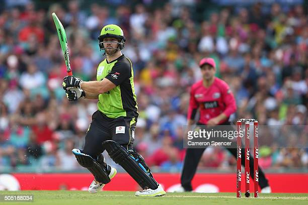 Aiden Blizzard of the Thunder bats during the Big Bash League match between the Sydney Sixers and the Sydney Thunder at Sydney Cricket Ground on...