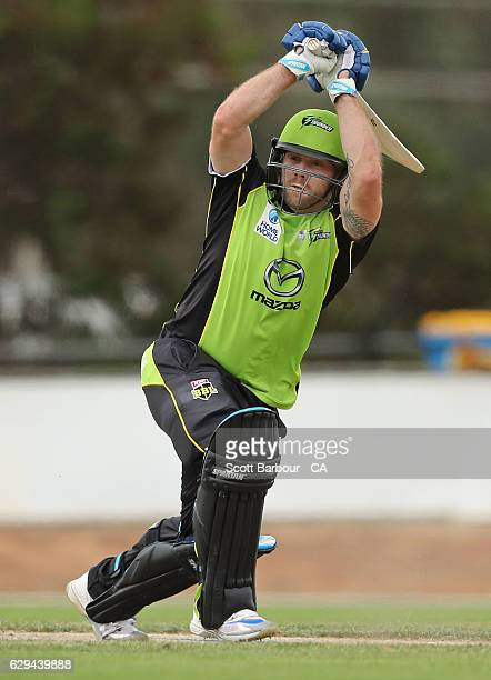 Aiden Blizzard of the Thunder bats during the Twenty20 Border Bash match between the Melbourne Stars and the Sydney Thunder at Lavington Sports...