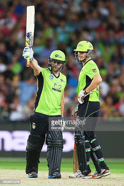 Aiden Blizzard of the Thunder celebrates scoring his half century during the Big Bash League match between the Sydney Thunder and the Sydney Sixers...