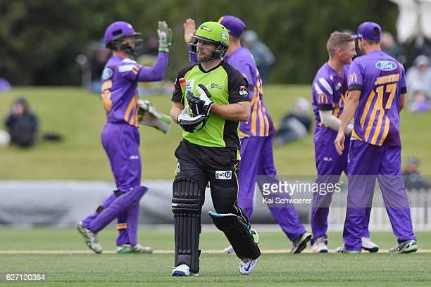 Aiden Blizzard of the Thunder looks dejected after being dismissed by Jeremy Benton of the Kings during the T20 practice match between Canterbury...