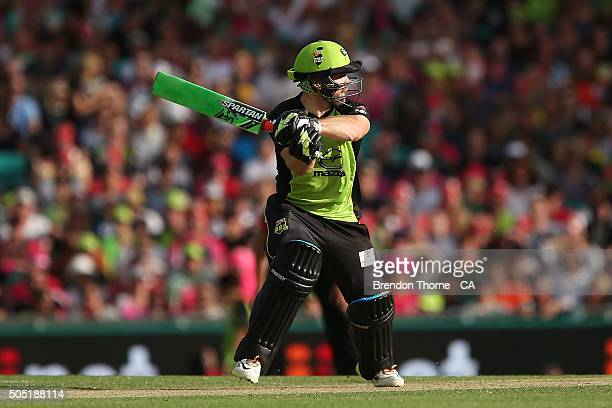 Aiden Blizzard of the Thunder plays a cut shot during the Big Bash League match between the Sydney Sixers and the Sydney Thunder at Sydney Cricket...
