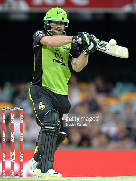 Aiden Blizzard of the Thunder plays a shot during the Big Bash League match between the Brisbane Heat and the Sydney Thunder at The Gabba on January...