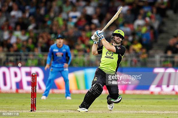 Aiden Blizzard of the Thunder plays a stroke on the leg side during the Big Bash League match between the Sydney Thunder and Adelaide Strikers at...