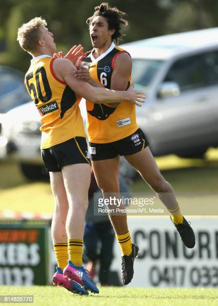 Aiden Bonar of the Dandenong Stingrays celebrates a goal during the round 13 TAC Cup match between Dandenong and Northern Knights at Shepley Oval on...