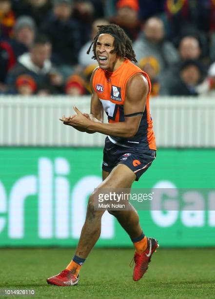 Aiden Bonar of the Giants celebrates a goal during the round 21 AFL match between the Greater Western Giants and the Adelaide Crows at UNSW Canberra...