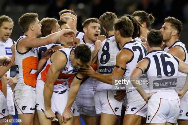 Aiden Bonar of the Giants celebrates his first goal during the round 20 AFL match between the Carlton Blues and the Greater Western Sydney Giants at...