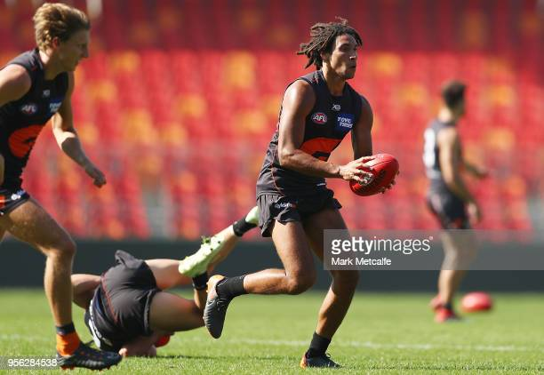 Aiden Bonar of the Giants in action during a Greater Western Sydney Giants AFL training session at Spotless Stadium on May 9 2018 in Sydney Australia
