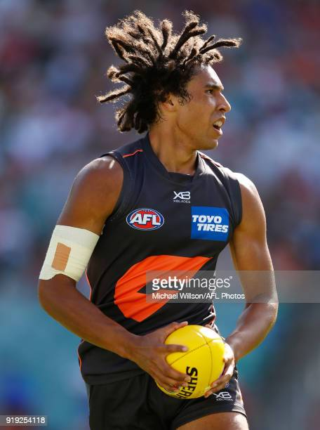 Aiden Bonar of the Giants in action during the AFLX match between the GWS Giants and the Richmond Tigers at Allianz Stadium on February 17 2018 in...