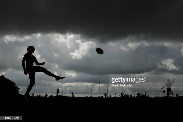 Aiden Bonar of the Giants kicks during the Greater Western Sydney Giants media session at Sydney Olympic Park Sports Centre on March 19 2019 in...