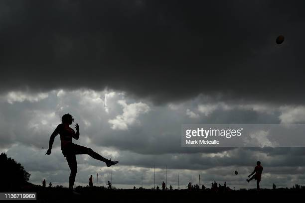 Aiden Bonar of the Giants kicks during the Greater Western Sydney Giants training session at Sydney Olympic Park Sports Centre on March 19 2019 in...