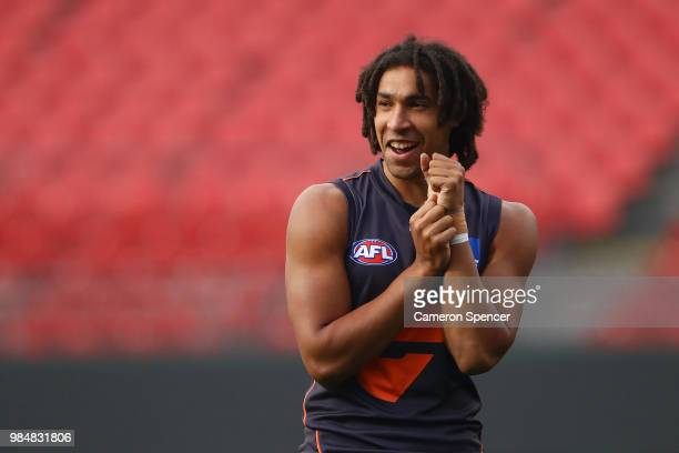 Aiden Bonar of the Giants looks on during a Greater Western Sydney Giants AFL training session at Spotless Stadium on June 27 2018 in Sydney Australia