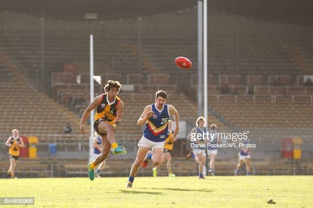 Aiden Bonar of the Stingrays kicks the ball during the TAC Cup Final between Dandenong and Eastern Ranges at Victoria Park on September 9 2017 in...