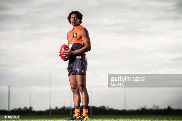 Aiden Bonar poses during the Greater Western Sydney Giants AFL media day on February 1 2018 in Sydney Australia