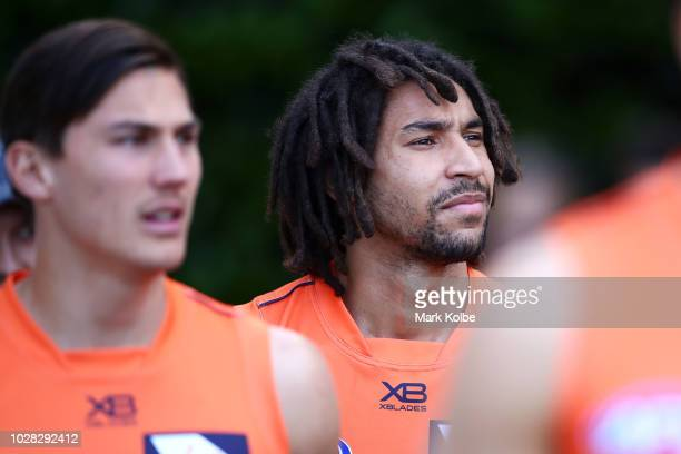 Aiden Bonar walks out to the field during a Greater Western Sydney Giants AFL training session at the Sydney Cricket Ground on September 7 2018 in...