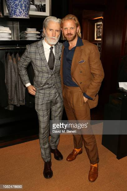 Aiden Brady and Alistair Guy attend an anniversary party celebrating 50 years of Ralph Lauren and 10 years of The Rake on October 18 2018 in London...