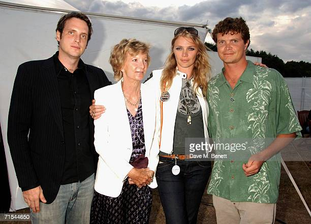 Aiden Butler and Jodie and Jack Kidd with their mother attend the Smyle and Kidd offical players party during the Cartier Polo Day at the Smyle...