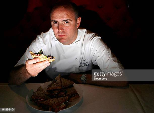 Aiden Byrne head chef at the Dorchester Grill poses during a sandwich tasting at the Dorcester Hotel London UK on Wednesday Aug 6 2008 Pret a Manger...