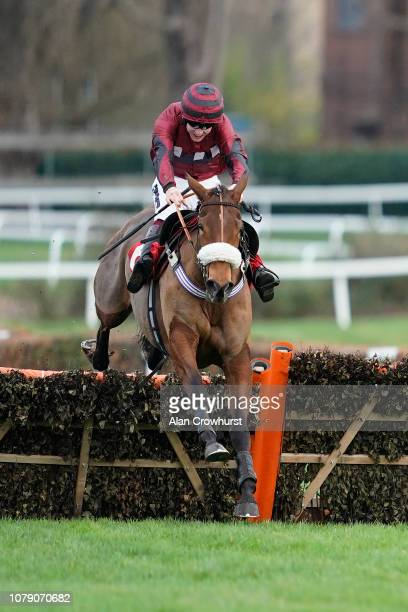 Aiden Coleman riding Papagana clear the last to win The Elmbridge Mares' Handicap Hurdle at Sandown Park Racecourse on December 08 2018 in Esher...