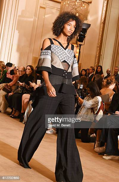 Aiden Curtis walks the runway at the Roland Mouret show as part of the Paris Fashion Week Womenswear Spring/Summer 2017 on October 2 2016 in Paris...