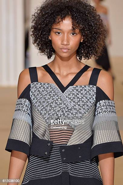 Aiden Curtis walks the runway at the Roland Mouret Spring Summer 2017 fashion show during Paris Fashion Week on October 2 2016 in Paris France