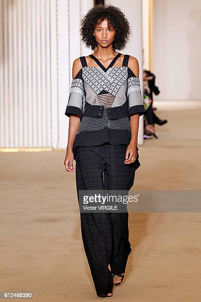 Aiden Curtis walks the runway during the Roland Mouret Ready to Wear fashion show as part of the Paris Fashion Week Womenswear Spring/Summer 2017 on...