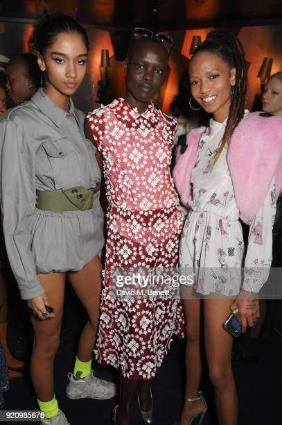 Aiden Curtiss Grace Bol and Adesuwa Aighewi attend the LOVE and MIU MIU Women's Tales Party at Loulou's on February 19 2018 in London England