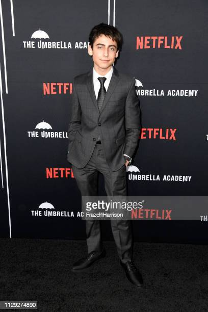 Aiden Gallagher attends the premiere of Netflix's 'The Umbrella Academy' at ArcLight Hollywood on February 12 2019 in Hollywood California