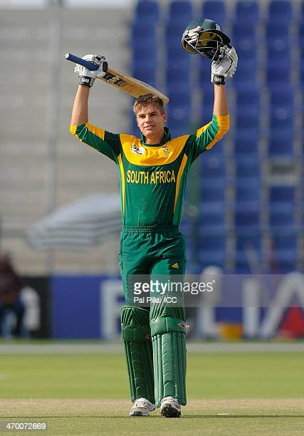 Aiden Markram captain of South Africa celebrates his century during the ICC U19 CWC match between Zimbabwe - U19 and South Africa - U19 played at...
