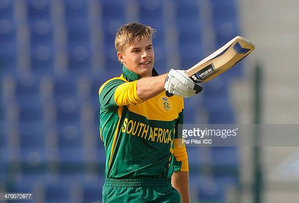 Aiden Markram captain of South Africa celebrates his century during the ICC U19 CWC match between Zimbabwe U19 and South Africa U19 played at Sheikh...