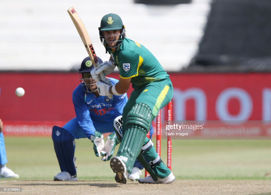 Aiden Markram in action during the 1st Momentum ODI match between South Africa and India at Sahara Stadium Kingsmead on February 01, 2018 in Durban, South Africa.
