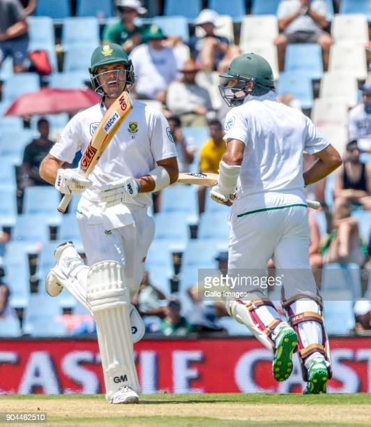 Aiden Markram in partnership with Hashim Amla of South Africa during day 1 of the 2nd Sunfoil Test match between South Africa and India at SuperSport...
