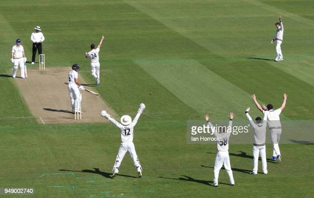 Aiden Markram of Durham is out lbw during day one of the SpecSavers County Championship Division Two match between Durham and Kent at the Emirates...