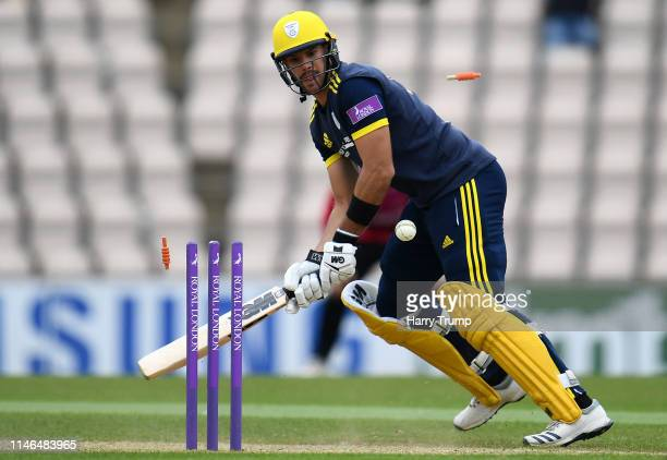 Aiden Markram of Hampshire is bowled during the Royal London One Day Cup match between Hampshire and Sussex at the Ageas Bowl on May 02 2019 in...