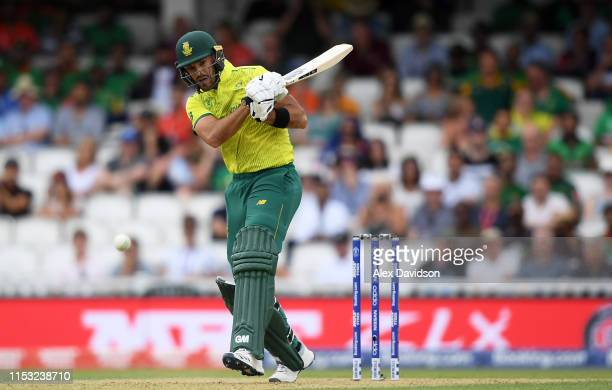 Aiden Markram of South Africa bats during the Group Stage match of the ICC Cricket World Cup 2019 between South Africa and Bangladesh at The Oval on...