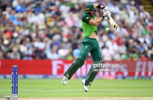 Aiden Markram of South Africa bats during the Group Stage match of the ICC Cricket World Cup 2019 between New Zealand and South Africa at Edgbaston...