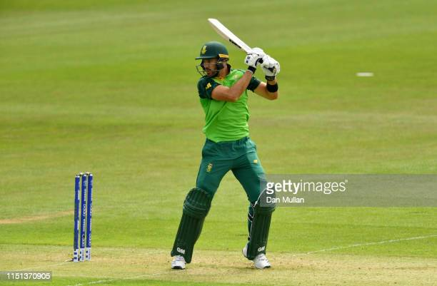 Aiden Markram of South Africa bats during the ICC Cricket World Cup 2019 Warm Up match between Sri Lanka and South Africa at Cardiff Wales Stadium on...