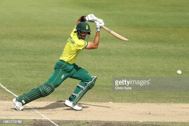 Aiden Markram of South Africa bats during the International Tour match between the CXI and South Africa at Allan Border Field on November 14 2018 in...