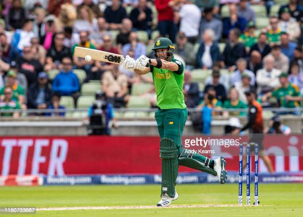 Aiden Markram of South Africa batting during the Group Stage match of the ICC Cricket World Cup 2019 between New Zealand and South Africa at...