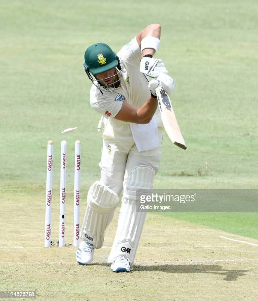 Aiden Markram of South Africa bowled for 11 runs by Vishwa Fernando of Sri Lanka during day 1 of the 1st Test match between South Africa and Sri...