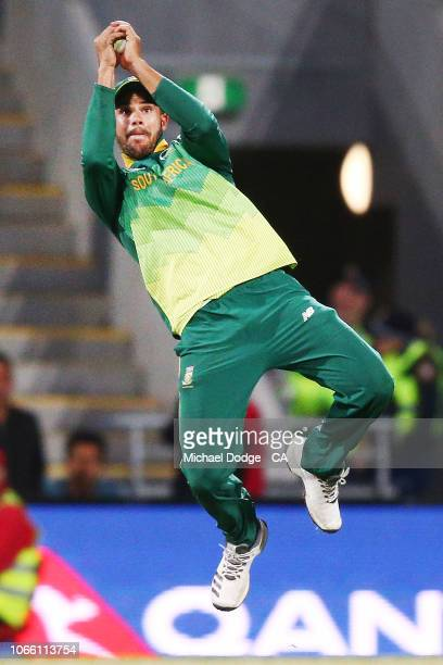 Aiden Markram of South Africa catches out Marcus Stoinis of Australia during game three of the One Day International series between Australia and...