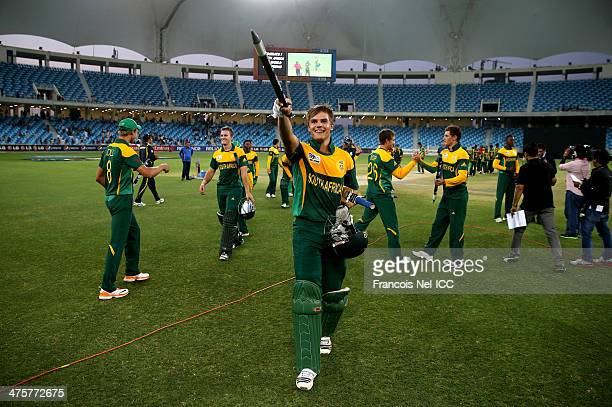 Aiden Markram of South Africa celebrates after winning the ICC U19 Cricket World Cup 2014 Super League Final match between South Africa and Pakistan...