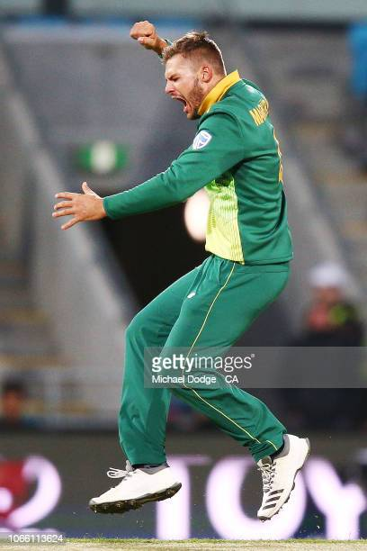 Aiden Markram of South Africa celebrates the dismissal of Marcus Stoinis of Australia that was later overturned during game three of the One Day...