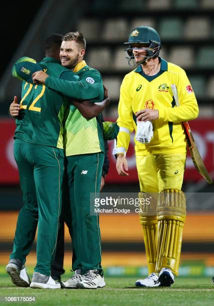 Aiden Markram of South Africa celebrates the win with Lungi Ngidi during game three of the One Day International series between Australia and South...