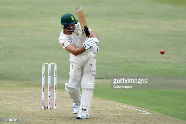 Aiden Markram of South Africa during day 1 of the 1st Test match between South Africa and Sri Lanka at Kingsmead Stadium on February 13 2019 in...